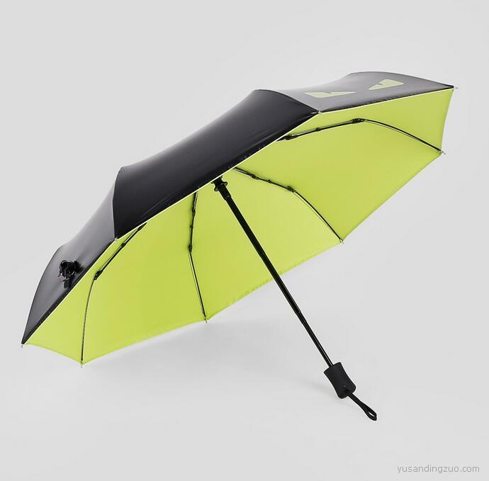 自开自收 折叠黑胶防晒遮阳伞