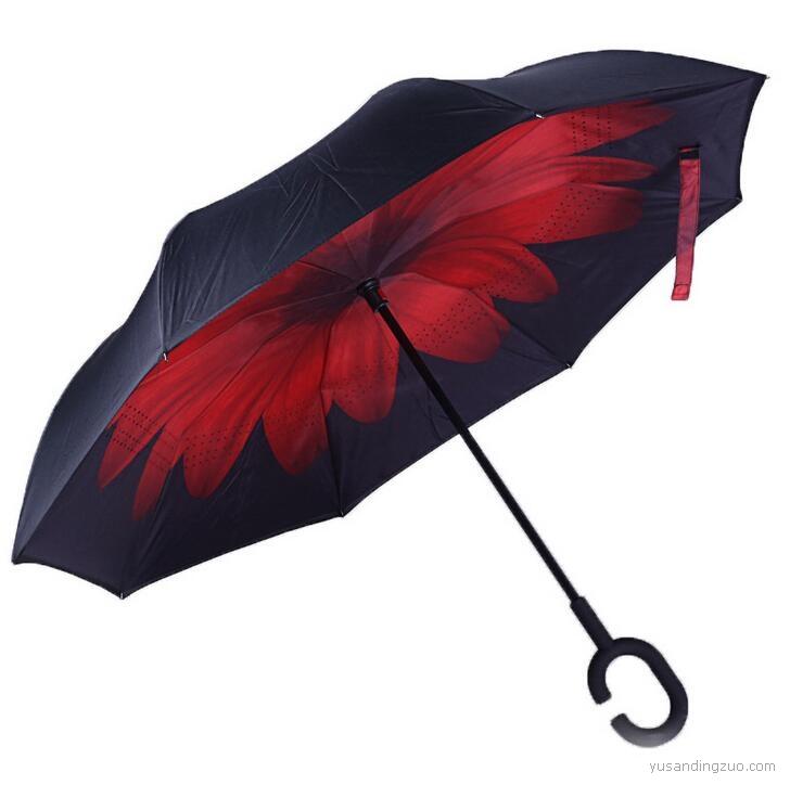 反向伞双层伞免持式C型雨伞