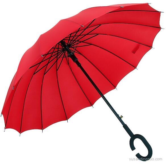 定制C型免持16骨雨伞