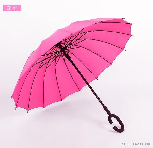 免持广告伞C型长柄16骨雨伞定制