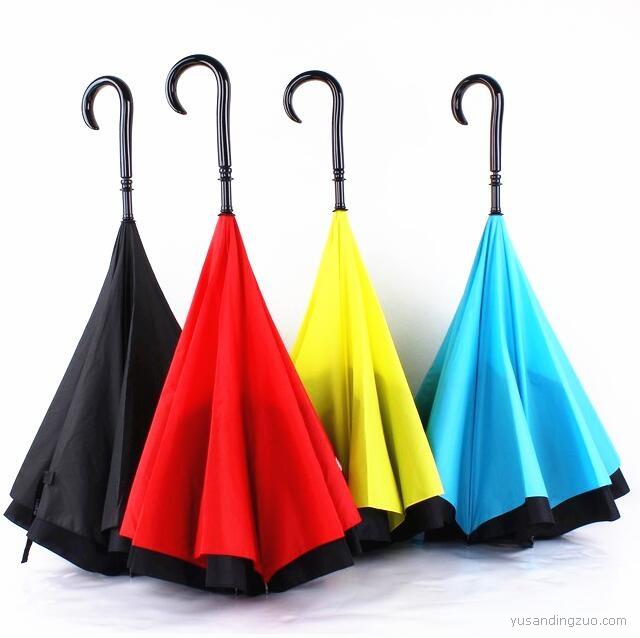 创意汽车雨伞弯勾C柄反向伞